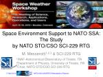 space environment support to nato ssa the study by nato sto cso sci 229 rtg
