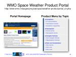 wmo space weather product portal http www wmo int pages prog sat spaceweather productportal en php