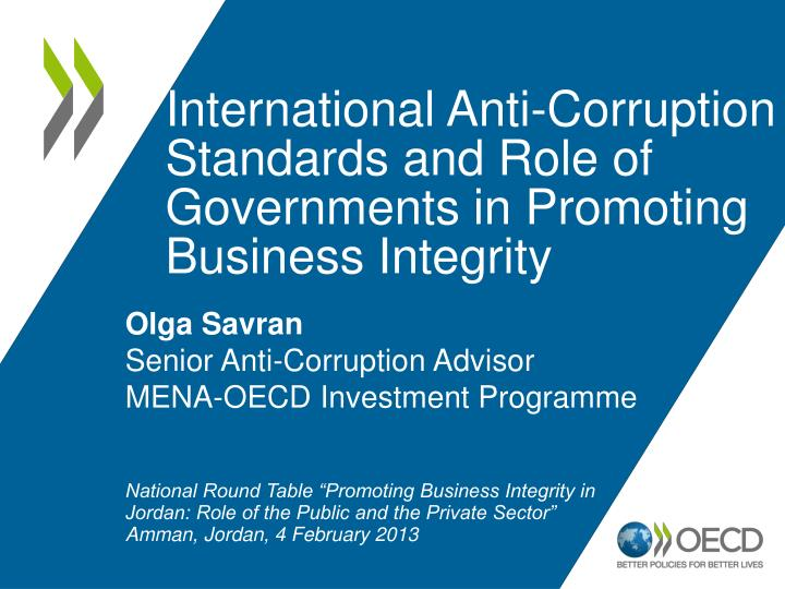 international anti corruption standards and role of governments in promoting business integrity n.
