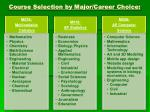 course selection by major career choice