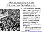 1953 public safety act and criminal law amendment act