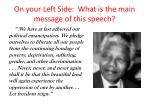 on your left side what is the main message of this speech
