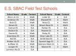 e s sbac field test schools