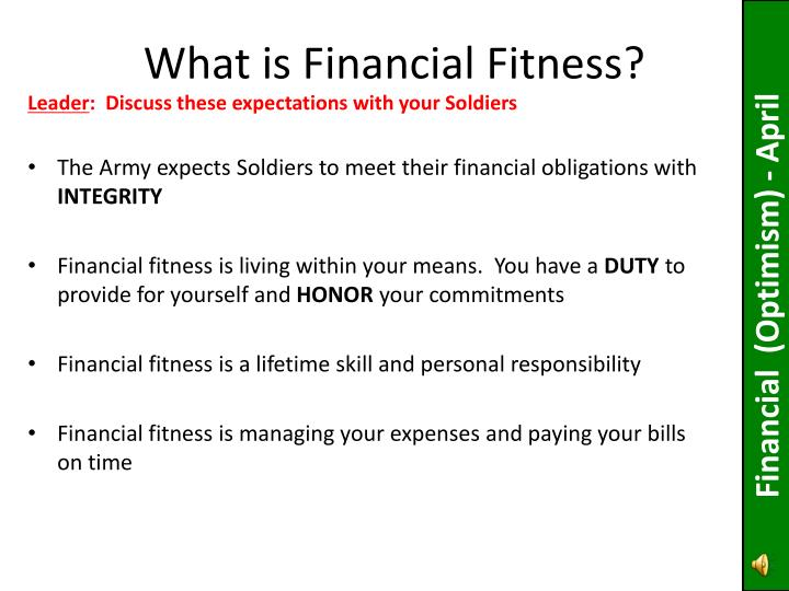 what is financial fitness n.