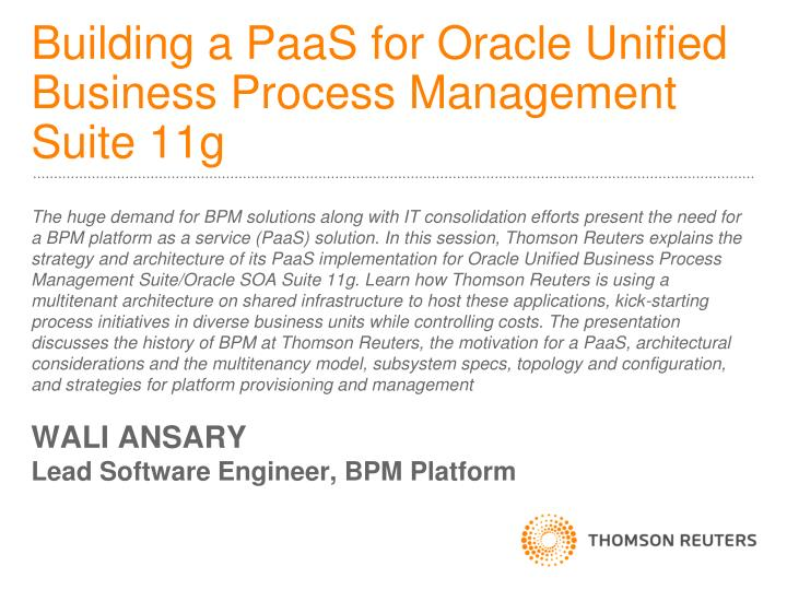 building a paas for oracle unified business process management suite 11g n.