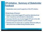 cpi initiative summary of stakeholder feedback