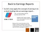back to earnings reports