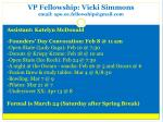 vp fellowship vicki simmons email apo oe fellowship@gmail com