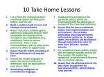 10 take home lessons