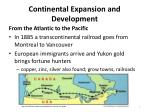continental expansion and development
