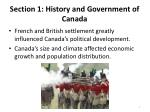 section 1 history and government of canada