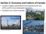 section 2 economy and culture of canada
