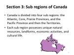 section 3 sub regions of canada