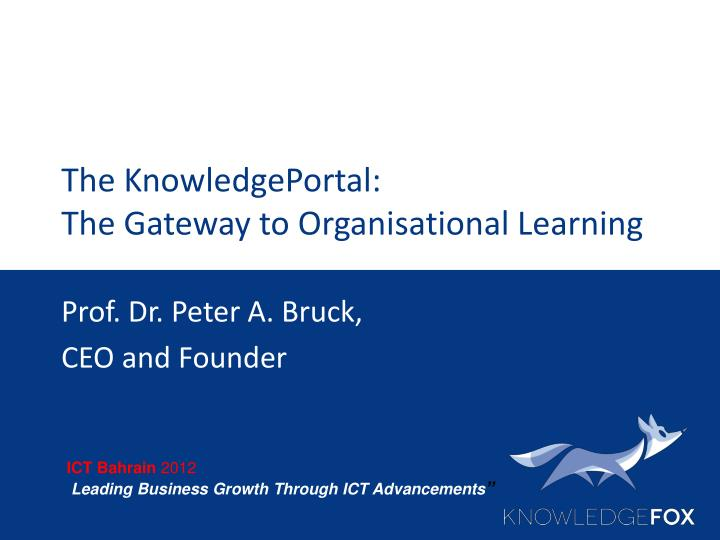 the knowledgeportal the gateway to organisational learning n.