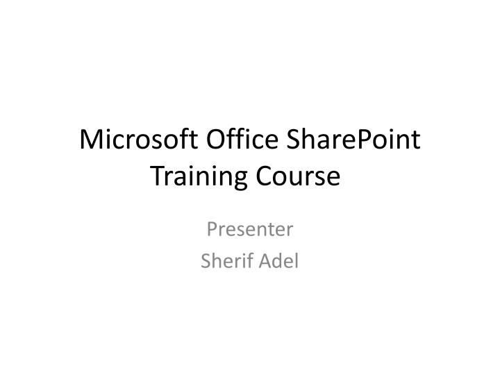 microsoft office sharepoint training course n.