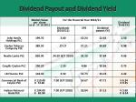 dividend payout and dividend yield