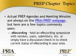 prep chapter topics
