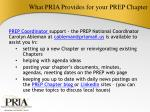 what pria provides for your prep chapter1