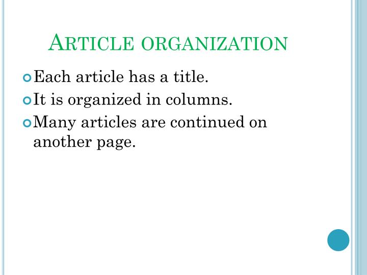 Article organization