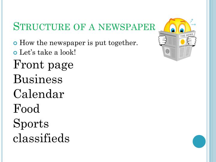 Structure of a newspaper