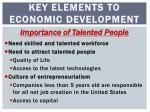 key elements to economic development
