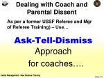 dealing with coach and parental dissent