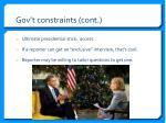 gov t constraints cont