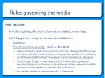 rules governing the media