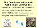 sem contributes to economic well being of communities