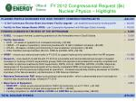 fy 2012 congressional request k nuclear physics highlights