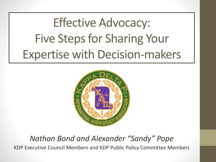 effective advocacy five steps for sharing your expertise with decision makers n.