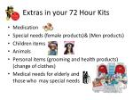 extras in your 72 hour kits