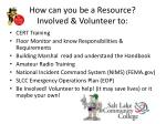 how can you be a resource involved volunteer to