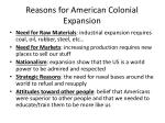 reasons for american colonial expansion