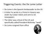 triggering events the de lome letter