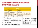 architecture changes provide value