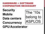 hardware software cooperation necessary