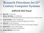 research directions for 21 st century computer systems asplos 2013 panel1