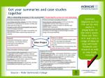get your summaries and case studies together