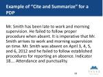 example of cite and summarize for a pdp