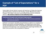 example of list of expectations for a pdp