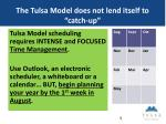 the tulsa model does not lend itself to catch up