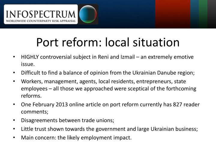 Port reform: local situation