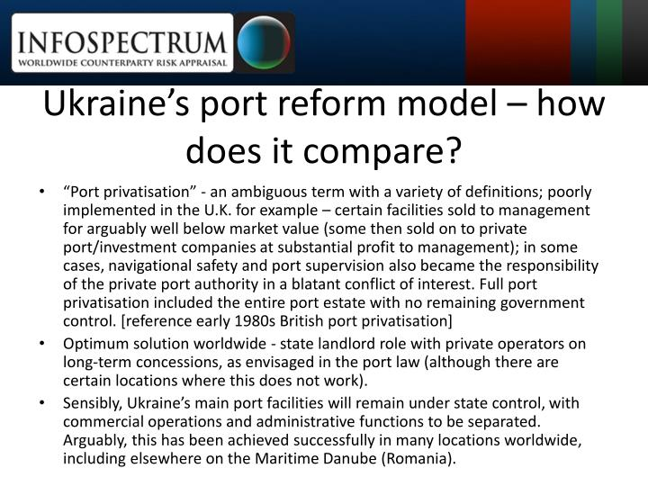 Ukraine's port reform model – how does it compare?