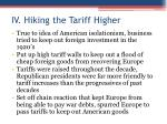 iv hiking the tariff higher