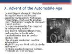 x advent of the automobile age