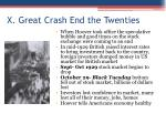 x great crash end the twenties