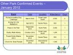 other park confirmed events january 2012