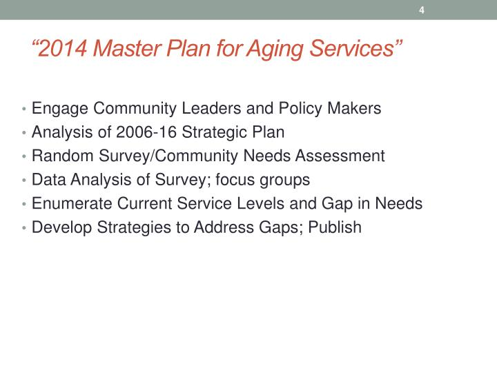 """2014 Master Plan for Aging Services"""