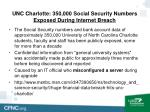 unc charlotte 350 000 social security numbers exposed during internet breach